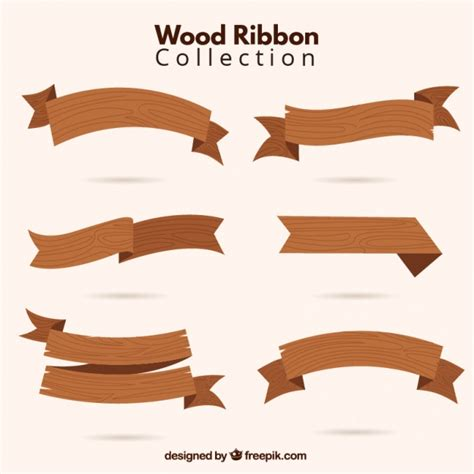 hand drawn wooden ribbons signs vector