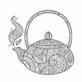 Coloring Teapot Tea Pdf Abstract sketch template