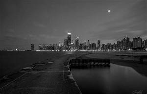 Wallpaper lights, Chicago, black and white, skyscrapers ...