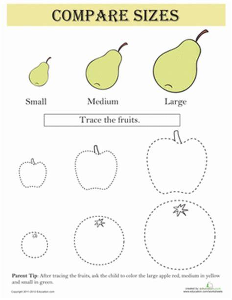 Compare Sizes Fruit  Worksheet Educationcom