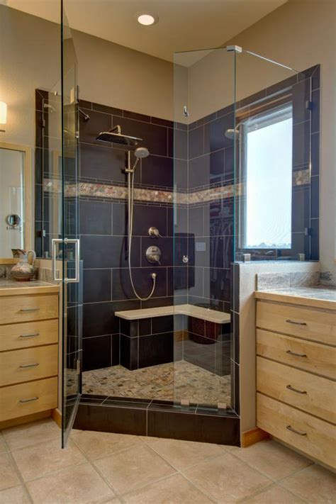 spacious glass wall shower  large blue tile interior