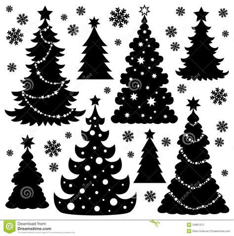 silueta de árbol de navidad tema 1 de la silueta 225 rbol de navidad ilustraci 243 n vector ilustraci 243 n de snowflakes