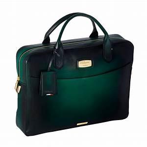 St dupont atelier emerald green leather laptop bag for Document holder bag