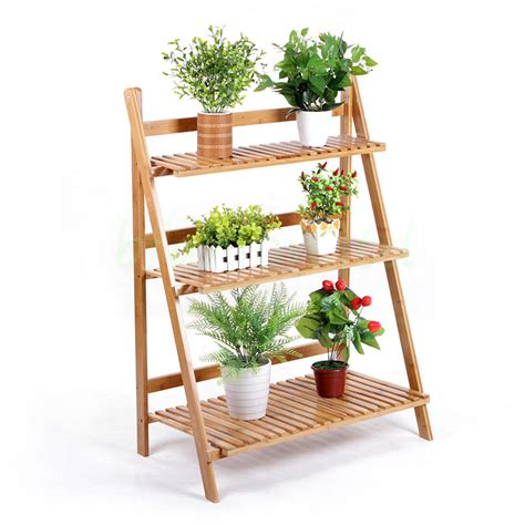 3 tier folding bamboo flower plant rack stand patio garden