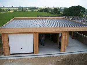 garage bois toit plat avec abris vehicule With construction garage toit plat