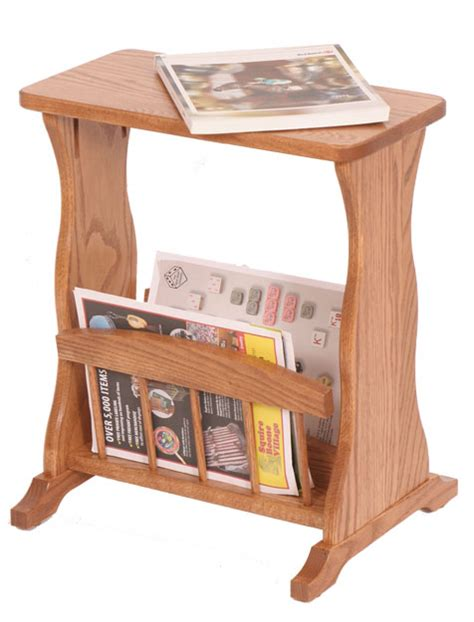 side table with l and magazine rack four seasons furnishings amish made furniture amish made