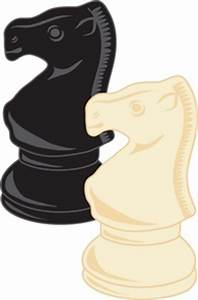 Chess Pieces Clipart Image - Black And White Knight Chess ...