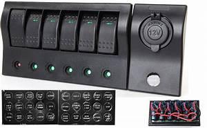 China 6 Gang Rocker Switch Panel  Cigarette Socket  Usb
