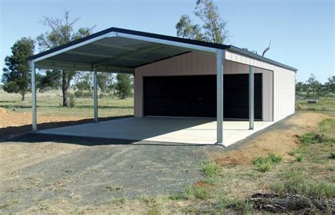Garage With Carport Or Garaport  Wide Span Sheds
