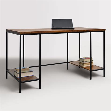 extra long computer desk wood and metal williard extra long desk world market