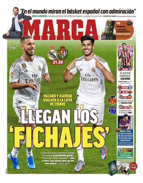 Today's Spanish Papers: Eden Hazard and Marco Asensio ...