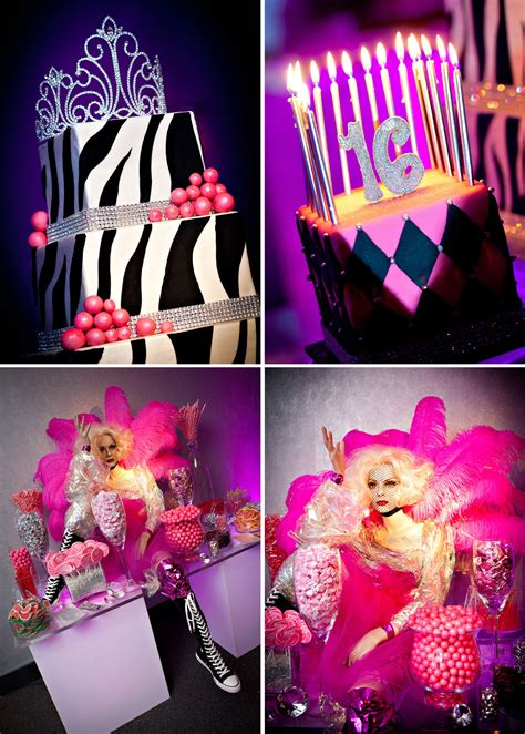 Pink Nightclub Themed Sweet Sixteen Party The