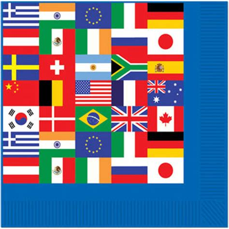 international world flag beverage napkins  countries