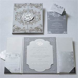 modern rococo tri fold invitations referencing the With white and silver wedding invitations pinterest