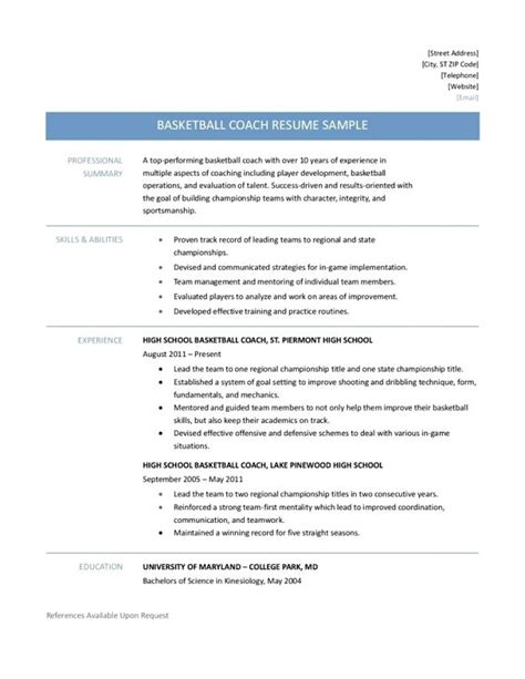 basketball resume template for player resume ideas