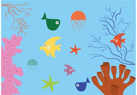 Fish Background Coral Reef With Fish Background Free Vector