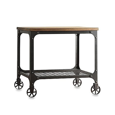 end table with wheels verona home morgan wood and metal end table with fixed