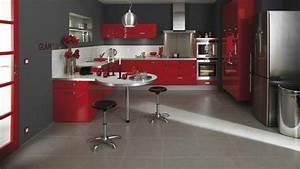 Deco cuisine gris rouge blanc for Idee deco cuisine avec cuisine couleur rouge bordeaux