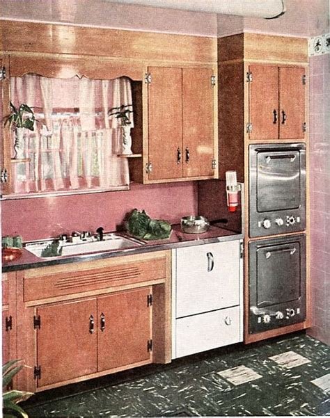 wood used for kitchen cabinets 1954 better homes and gardens pink kitchen 1950s wood 1954