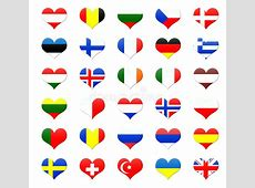 Heart Shaped Buttons Of Europe Royalty Free Stock Image