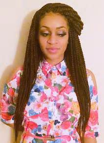 Large Box Braids Hairstyles with Color