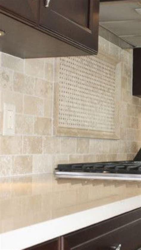 travertine backsplash  white quartz countertop