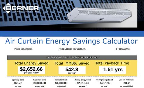 berner air curtain distributors company releases energy calculation tool 2016 04