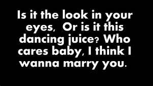Bruno Mars Marry You Lyrics On Screen YouTube