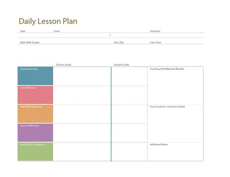Swimming Lesson Plan Template by Swim Lesson Plan General Template Swimming Lessons Ideas