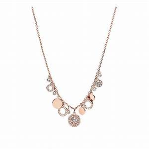 collier femme fossil vintage glitz dore rose jf01741791 With collier femme