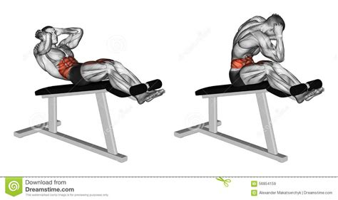 Chair Sit Ups Muscles by Exercising Twisting To Turn On The Chair Stock