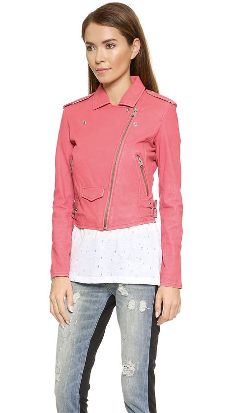 light blue leather jacket womens lyst iro ashville leather jacket light blue in pink