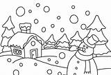 Winter Scene Outline Clipart Coloring Pages Snow Printable Clipground Making sketch template