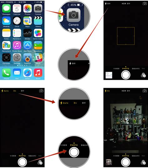 how to turn flashlight on iphone how to set the flash hdr timer and grid on iphone or
