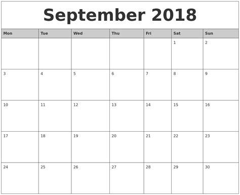 september  monthly calendar printable