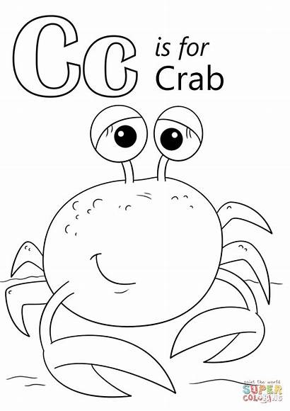 Letter Coloring Crab Pages Printable Preschool Alphabet