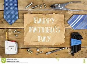 Happy Fathers Day On Paper With Frame On Wood Stock Photo ...
