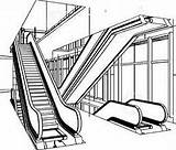 Escalator Clipart Escalators Coloring Pages Royalty Clipground Getcolorings Template Sketch Type sketch template