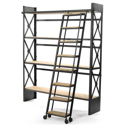 library bookcase with ladder industrial loft reclaimed wood bookcase with ladder