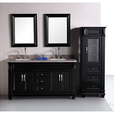 double vanity with linen cabinet design element hudson 60 inch double sink bathroom vanity