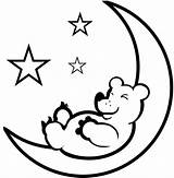 Moon Coloring Pages Printable Sheet Sleeping Bear Crescent Stars Phases Clipart Detailed 574px 21kb Space sketch template