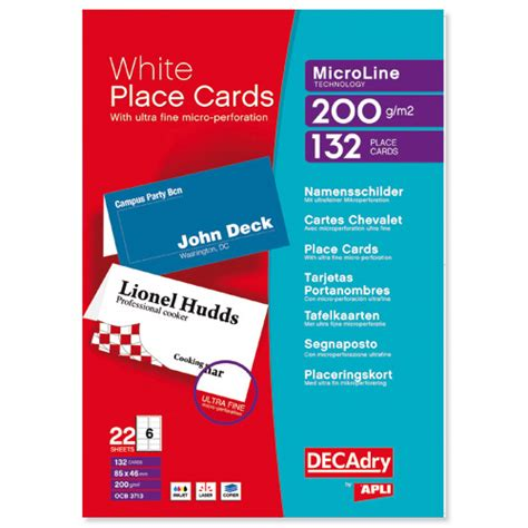 decadry place cards template free decadry place cards 85x46mm pack of 132 dpocb3713