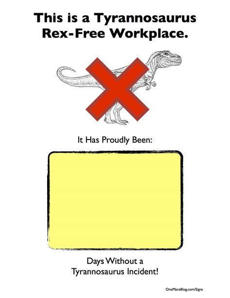 tyrannosaurus free workplace tag strip signs pinterest
