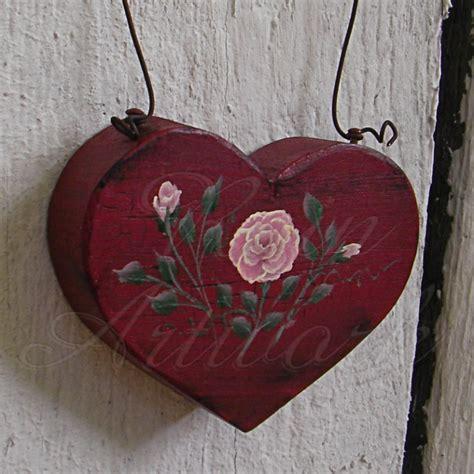 primitive heart pink rose christmas ornament folk art