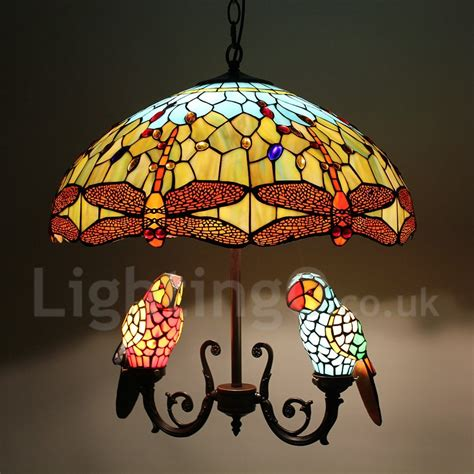 tiffany chandelier handmade rustic retro glass parrot