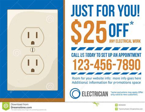 postcard advertisement template  electrician  stock