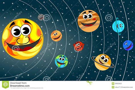 Solar System Cartoon Planets Smiling Orbit Stock Vector