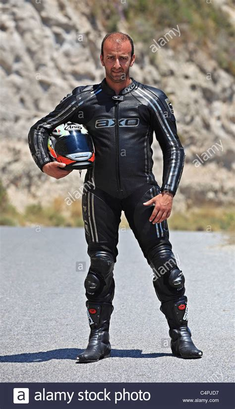 bike leathers man in motorcycle leathers jacket trousers boots and