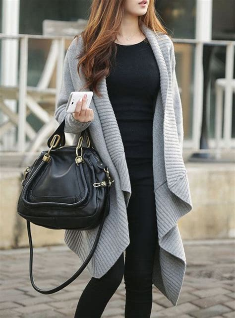 Long Grey Cardigan Sweater Outfit
