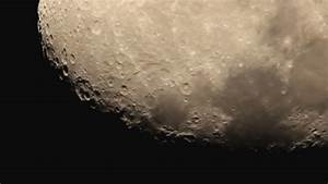 The Moon With Light Clouds, Close Up View, Strong Zoom ...